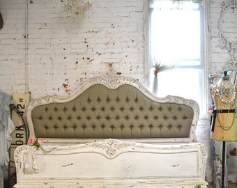 Painted Cottage Shabby French Linen Tufted Romantic Bed  KING / Queen