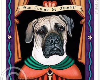 8x10 Mastiff Art - Patron Saint of Snoring -  Art print by Krista Brooks