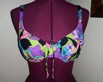1960s Bikini Top 60s Bikini Top Psychedelic Floral Neon Colors Mod Mad Men Bathing Suit Top Bali Bathing Suit Top Festival Hippie Size 36 B