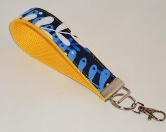 Wristlet Royal Blue Petals Key Fob Key Chain Key Holder keychain