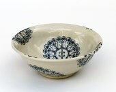 Blue and White Pottery Bowl with Drawings of Venice Windows