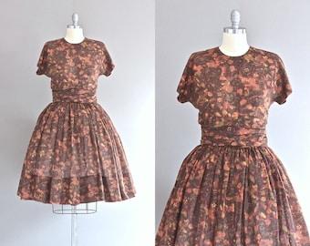 vintage 1950s dress • brown dress • earth tone print • medium large •