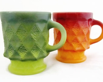 Fire-King Kimberly Mugs Diamond Pattern Stackable Red-Orange and Green