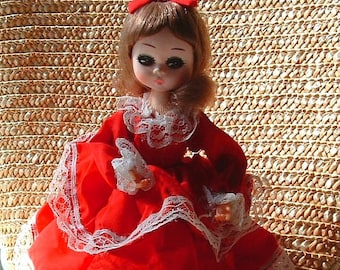 """1960's Big Eye Vintage Pose Bradley Stockinette Doll - 8 inches Tall Southern Belle Original Dress - :MISS February"""""""