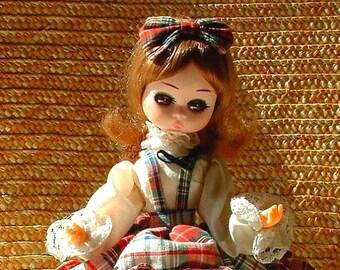 1960's Big Eye Vintage Pose Bradley Stockinette Doll - 8 inches Tall  Original Dress - MISS SEPTEMBER
