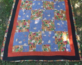 Pretty floral Vintage Kantha Patchwork Ralli Quilt. Recycled fabrics. Hand made. 6 ft 6 x 4 ft.
