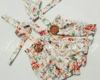 High Waisted Suspender Shorties- Vintage White Floral - Baby Toddler Girl -Ties in Back - Adjustable -Mod Trendy - Spring Summer Family Pics