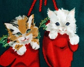 Reserved for Natalie Alexander Henry Christmas fabric Kittens in Mittens, one yard, rare 2006, OOP holiday kitten cat fabric