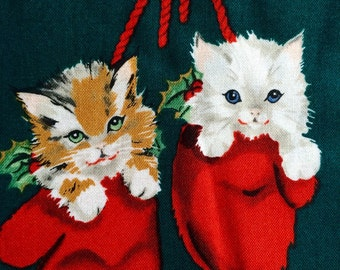 Alexander Henry Christmas fabric Kittens in Mittens, by the yard, rare 2006, OOP holiday kitten cat fabric