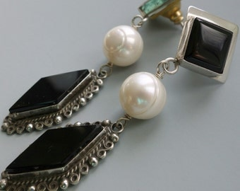 Mexican Vintage Onyx and Sterling Pearl Earrings