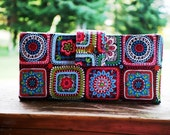 Last one Clutch wallet all vegan handmade beautiful squares of color