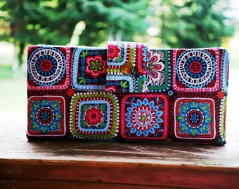 Clutch wallet all vegan handmade beautiful squares of color