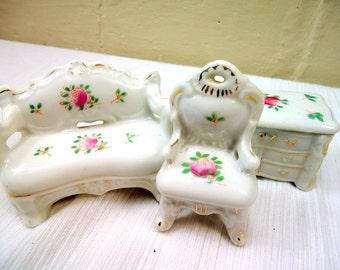 Vintage Cottage Chic Mini Furniture Set Of Three