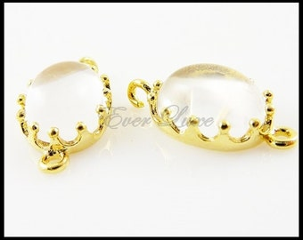 2 Colorful clear domed smooth oval glass connectors in crown setting for jewelry earrings necklace  5037G-CL (bright gold, clear, 2 pieces)