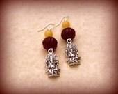 Long Dangle Earrings, Ganesh Earrings, Dangle Earrings, Silver Dangle Earrings, Long Earrings, Boho Gypsy Tribal Jewelry