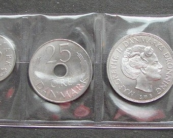 DENMARK COINS SET Margrethe 2nd Uncirculated Modern Type Denmark 5 10 25 Ore 1 5 Kroner