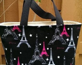 Handmade Lunch bag - Paris Eiffel Tower on black print