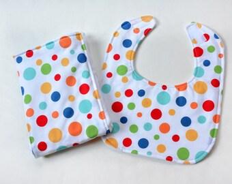 Baby Bib Burp Cloth For Infant Bib Burpcloth Baby Shower Gift Colorful Dots Burp Rag Gender Neutral