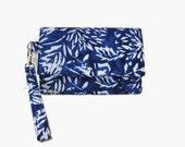 Sale - Navy Blue Batik Cell Phone Wristlet Wallet - Cushioned iPhone Wallet - Navy Blue Wristlet - Smartphone Trifold Wallet - Phone Wallet