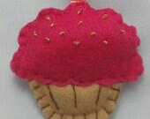Pink beaded cupcake keychain