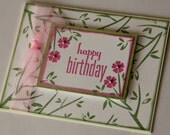 Stamped Happy Birthday Card, Birthday Greeting with Cherry Blossoms, Birthday Card for Girl or Woman in pink and green (BD1505)