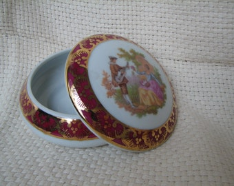 Trinket Box - Limoges - France - Powder Box - Pin Box - Porcelain - Vintage -Storage - Gift Box - Jewelry Box - Ring Holder