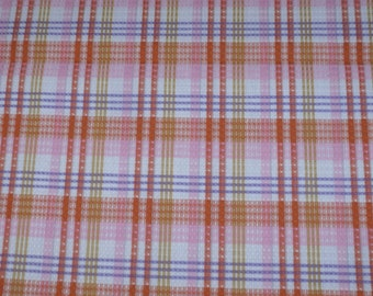 Vintage Fabric~2 Yards-Orange Plaid~Textured Cotton Fabric~New Old Stock