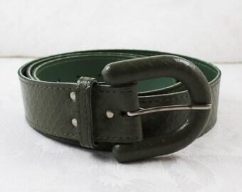 Vintage Green Faux Snake Skin Belt