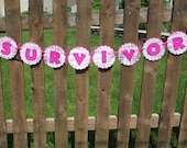 SURVIVOR Banner Breast Cancer Awareness Banner Sign Relay for Life Hope Banner Sign Courage Strength Hot Pink Ready to Ship Banner