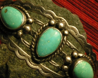 Harvey Era Stamped Southwest Sterling Silver Turquoise Cuff Bracelet