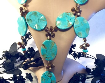 Bold and Beautiful RunWay Genuine Turquoise Mother of Pearl Vintage Bib Festoon Necklace