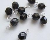 10 - Handmade 6mm Dangles-Charms Black Czech beads w/silvered headpins