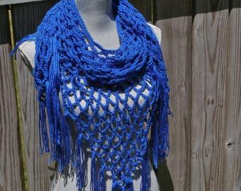 Summer Scarf, Crochet Scarf, Triangle Scarf, Crochet Shawl in Royal Blue