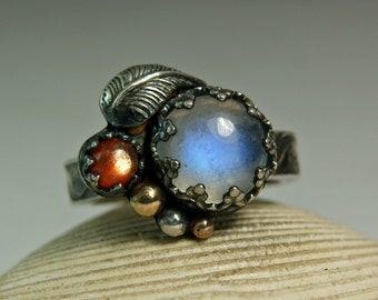 Blue Moonstone Leaf Ring, Two Stone Ring, Natural Moonstone Jewelry, Black Sterling Silver Ring