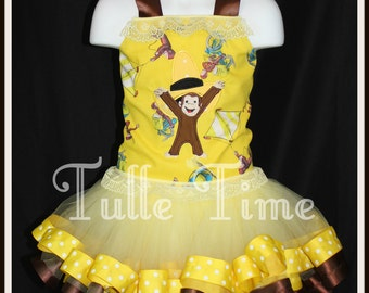 Curious George ribbon trim tutu embroidered corset top size 12m 18m 2t 3t 4t 5t 6