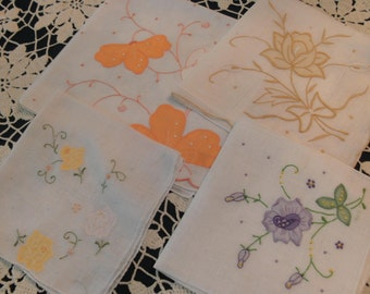 Four appliqued Vintage Handkerchiefs Four Different Colored Flowers