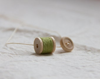 tiny wooden spool with button, simple necklace