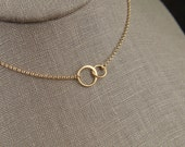Tiny gold entwined rings necklace, linked circles, gold circles, simple gold necklace, interlocking circles, infinity