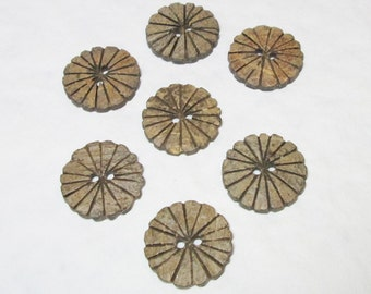 Medium Carved Daisy Coconut Buttons set of 7