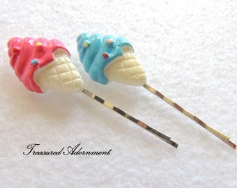 Ice Cream Cone Hair pin, Pink  Blue, Bobby pin, Hair clip, Photography Prop, Children Hair pin, Summer Birthday party favor, girl hair pin