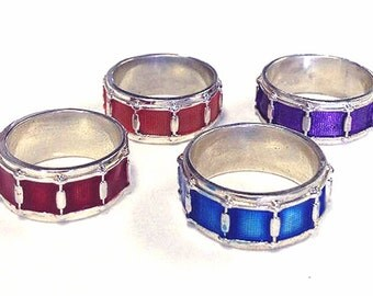 Hand Crafted  Sterling Silver Snare Drum Ring Size 4-13