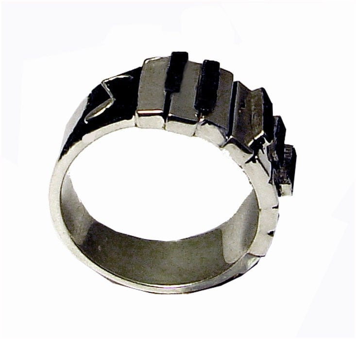 Piano / Keyboard Ring Sterling Silver
