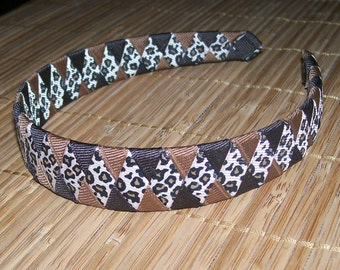 Tan Leopard Woven Headband, Handmade Headband, Brown Headband, Braided Headband, One Inch Headband, Handmade To Order, Girls Accessories