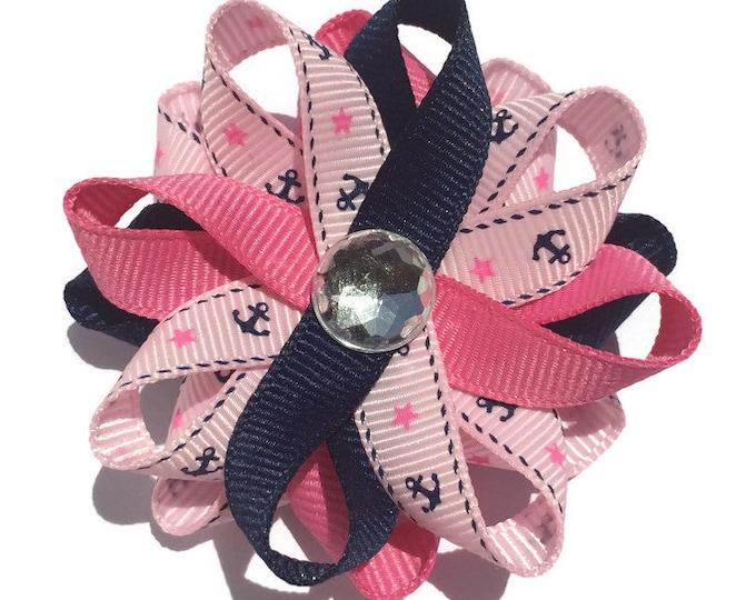 Pink & Blue Anchor Hair Bows, Nautical Hair Bows