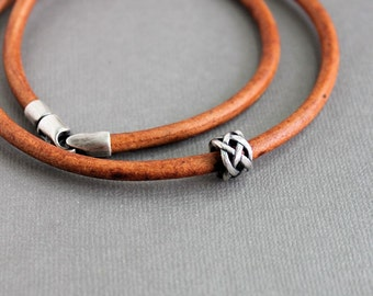 Mens Cord Necklace Silver Bead Light Brown Leather