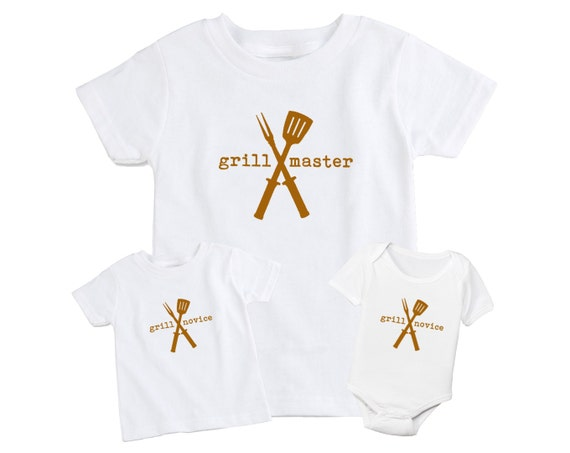 Set of 2 Mother / Father & Daughter / Son Matching T-Shirt - BBQ Grill Master Grill Novice