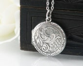 Sterling Silver Antique Locket | Engraved Round Edwardian Locket | 1916 English Hallmark Silver Locket Necklace - 17.5 Inch Chain Included