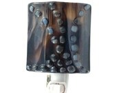 Night Light Dark Espresso Brown & Blue Gray Fused Glass with Curvy Beaded Lines - Accent Light