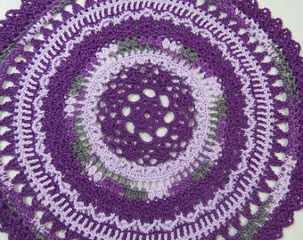 Purple Doily-10.5 inch Doily-Lavender Doily-Gray Variegated Doily-Textured Doily-Hand Crocheted Egyptian Cotton Doily- Cindy's Loft
