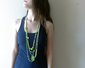 Long beaded necklace, Handmade green multistrands necklace, long layered necklace, Green necklace